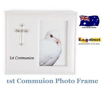 """FIRST HOLY COMMUNION WHITE VINYL LEATHER PHOTO FRAME WITH CROSS 4""""x 6"""""""