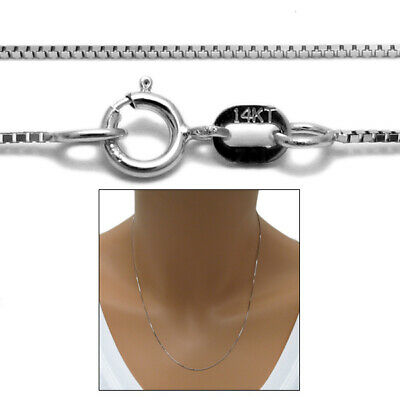 "Guaranteed 14K White Gold Box Chain Necklace 0.6mm 16""-24"""