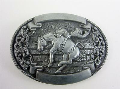 Belt Buckle Vintage Pewter Chambers Trophy Bucking Bronco Rodeo Western Cowboy