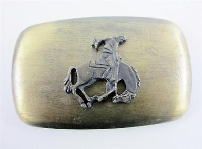 Belt Buckle Vintage Brass Chambers Figural Western Cowboy Bucking Bronco Horse