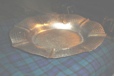 Vintage HAMMERED BRASS FOOTED CENTERPIECE BOWL TRAY Silver Toned Brass (Large)
