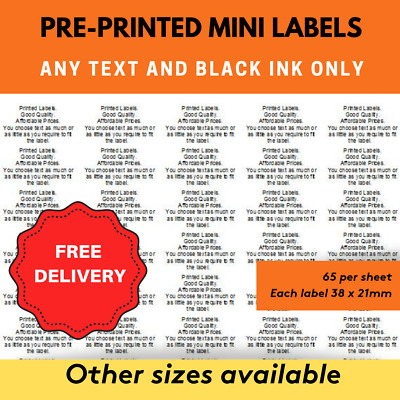 2015 Pre Printed Mini Labels Sticky White Address Labels - Personalised
