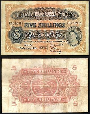 EAST AFRICA  5 Shillings 1955 VF P 33
