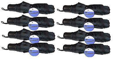 "Lot Of 8 Telescopic 42"" Umbrellas Travel Purse Folding Rain Black NEW"