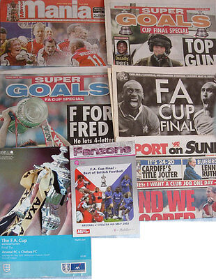 Arsenal v Chelsea 2002 FA Cup Final Programme with newspaper supplements