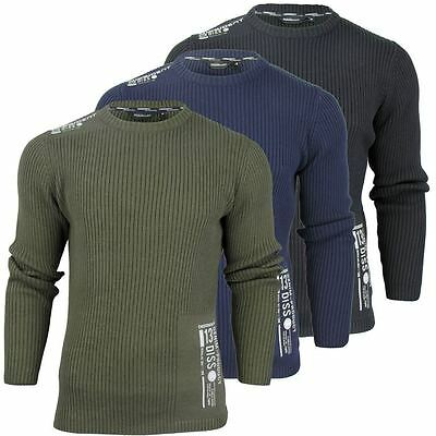 Mens Fashion Dissident 'Westley' Ribbed Crew Neck Knit Jumper/ Sweater