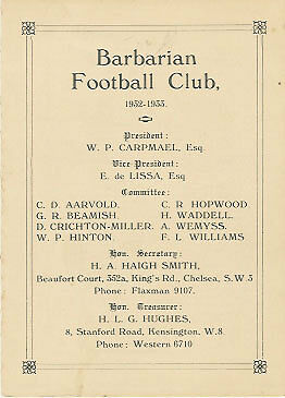 1932/3 Barbarians Rugby Member's Card / Fixture List