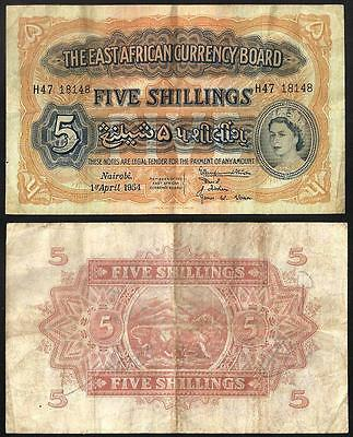 EAST AFRICA  5 Shillings 1954 VF P 33