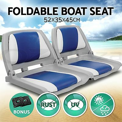 2 X Premium Boat Seat Folding & Swivel w/  White Blue All Weather
