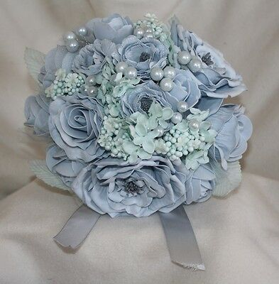 baby blue bouquet artificial flower foam rose & buttonhole WEDDING pearl tulle