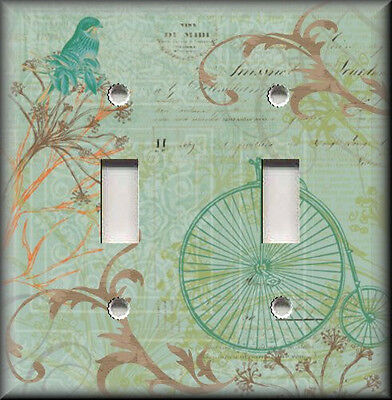 Metal Light Switch Plate Cover Shabby Chic Bicycle Floral Home Decor Bird Decor