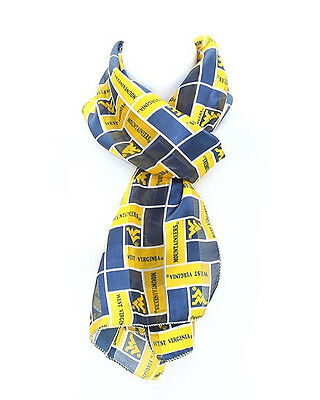 """UNIVERSITY of WEST VIRGINIA"""" MOUNTAINEERS"""" SCARF""""NEW DESIGN"""" 100% POLYESTER"""
