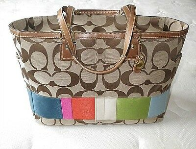 Coach Signature Khaki C Multicolor Stripe Multifunction Baby