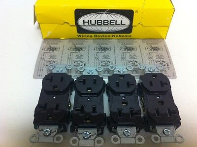 Box (4) New Hubbell Kellems Brown 20A Receptacles Br20