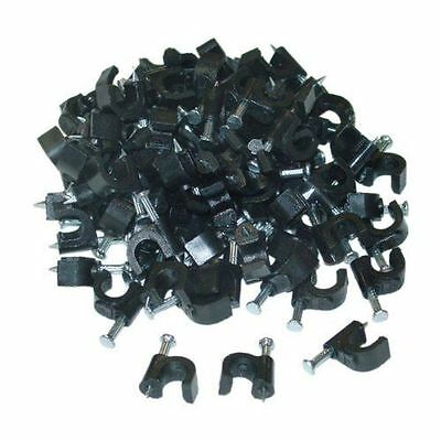 6mm Cable Clip suitable for RG59, Cat5e, Cat6 or Speaker Wire, Black (100 pack)
