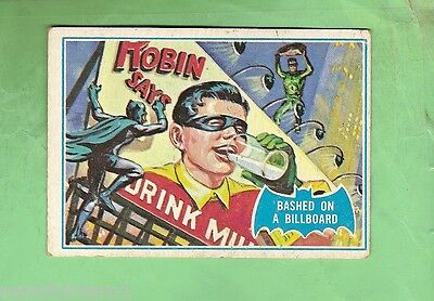 Scanlens 1966 Batman Blue  Bat Card #9B Bashed On A Billboard