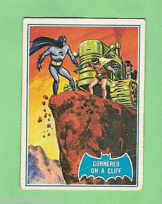 Scanlens 1966 Batman Blue  Bat Card #19B Cornered On A Cliff