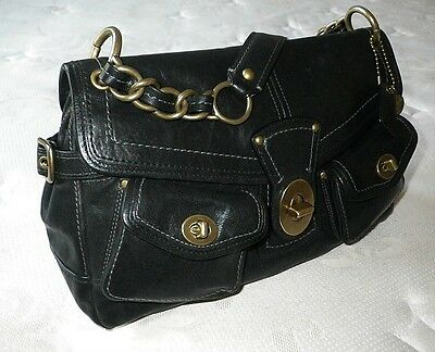 AWESOME COACH LEGACY LEIGH VINTAGE BLACK LEATHER TOTE BAG PURSE SATCHEL WOW!