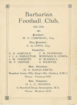 1931/2 Barbarians Rugby Member's Card / Fixture List