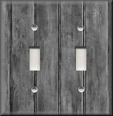 Metal Light Switch Plate Cover - Image Of Rustic Barn Wood - Grey - Home Decor