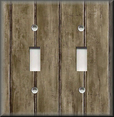 Metal Light Switch Plate Cover - Image Of Rustic Barn Wood Grey Brown Home Decor