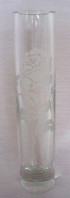 LEAD CRYSTAL GLASS CUT GLASS BUD VASE  ETCHED ROSE