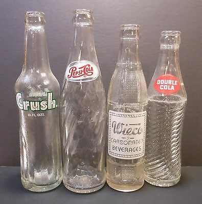 4 Vintage ACL Soda Bottles..Crush..Pepsi..Wieco..Double Cola