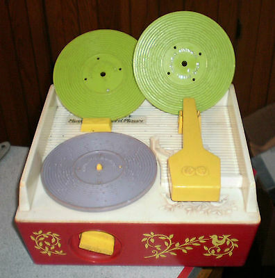 Vintage FISHER PRICE MUSIC BOX RECORD PLAYER w/ 3 Records for Parts or Repair