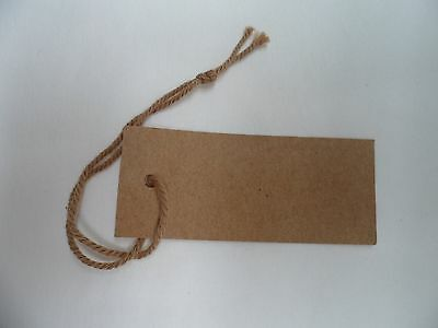 100 Brown Recycled Small Swing Tags Strung with Cotton 25 mm L x 60mm W
