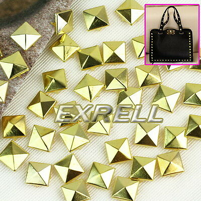 100pcs 12mm Gold Pyramid Spikes Studs Spots Rivet Punk Rock DIY Bag Leathercraft