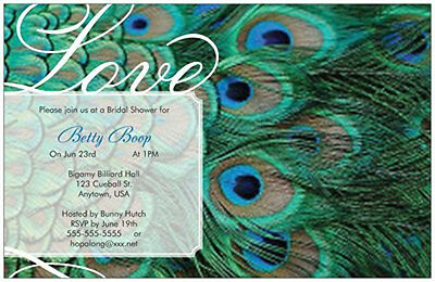 Personalized Custom PEACOCK  FEATHERS Wedding SHOWER 5x7 Flat Invitations & Env