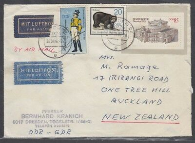 East Germany 1986 Cover To New Zealand Dresden Label (Id:355/d20073)