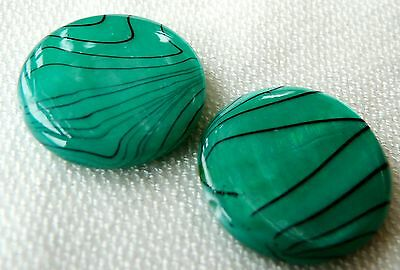 18(mm) PRINTED SHELL FLAT ROUND DISC BEADS - STRIPY DARK GREEN - S027 - 10PCS