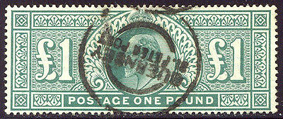 GREAT BRITAIN #142 Used - 1902 £1 Green