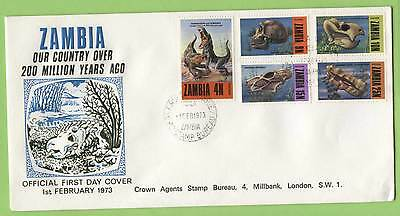 Zambia 1973 Prehistoric Animals set on Crown Agents First Day Cover