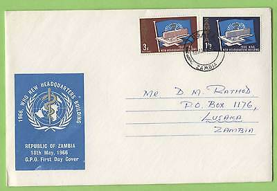 Zambia 1966 W.H.O. New Headquarters Buildings set First Day Cover