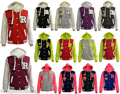 New Kids Girls Boys Baseball Hooded Jacket Comfortable Long Sleeve Hoodie 7-13