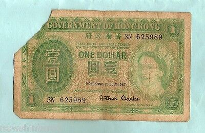 HONG KONG ONE DOLLAR, 1st July 1957, Serial # 3N 625989