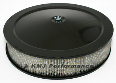 """14"""" Round Black Air Cleaner Assembly - Recessed Dropped Base w/ 3"""" Paper Filter"""