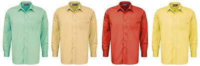"School Uniform Shirts Red / Yellow / Green / Tussore - Adult Sizes 14"" to 17.5"""