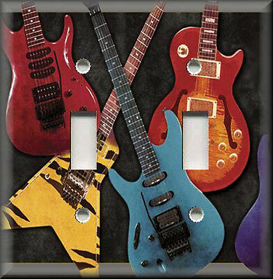 Metal Light Switch Plate Cover Colorful Electric Guitars Music Room Home Decor