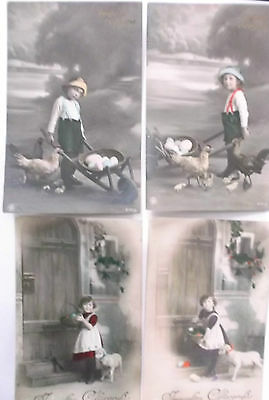 4 imperial german  ww1 postcards  young boy with chickens & girl with lamb