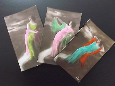 3 imperial german  ww1 hand coloured  postcards  lady in long dress