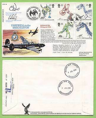 G.B. 1991 Dinosaurs set on official RAFDC flown & signed First Day Cover