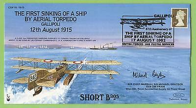 G.B. 2002 V.C.C. First sinking of a ship by Aerial Torpedo, signed Air Chief Mar