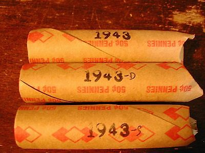 1943-PDS 3 LINCOLN STEEL WHEAT CENT PENNY ROLLS, (1 roll P, 1 roll D, 1 roll S)