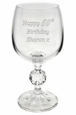 Personalised Engraved Bohemia Crystal Wine Glass 40th 50th 60th Birthday Gift