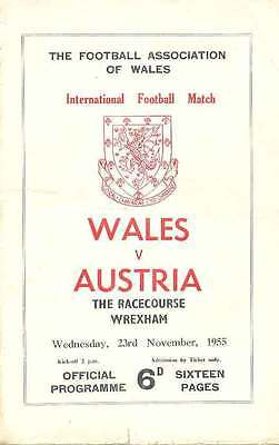 WALES v AUSTRIA 23 Nov 1955 FOOTBALL PROGRAMME at RACECOURSE, WREXHAM