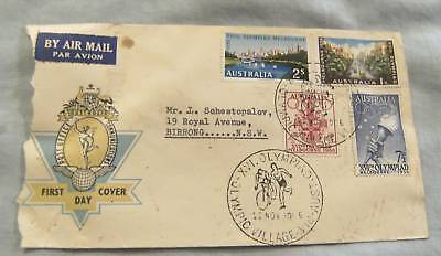 #d46.  1956 Melbourne Olympic  First Day Cover - Damaged
