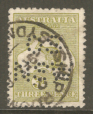 Roo / Kangaroo Australia OS NSW Punctured Perfin 3d Olive SHIP ROOM SYDNEY CDS